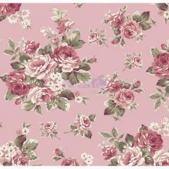Tecido Tricoline Estampado Floral Amore Salmão