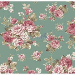 Tecido Tricoline Estampado Floral Amore Verde