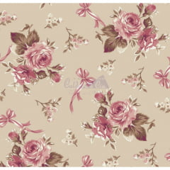 Tecido Tricoline Estampado Floral Fiore  Bege