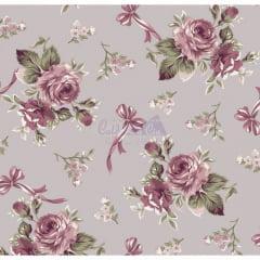 Tecido Tricoline Estampado Floral Fiore Cinza Vintage