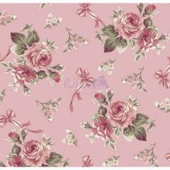 Tecido Tricoline Estampado Floral Fiore  Salmão
