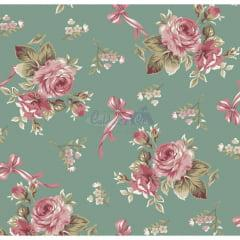 Tecido Tricoline Estampado Floral Fiore Verde Vintage