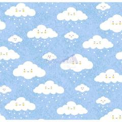 Tecido Tricoline Estampado Nuvem Azul