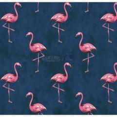 Tecido Tricoline Flamingo Marinho
