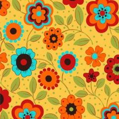 Tecido Tricoline Floral Alegria Amarelo