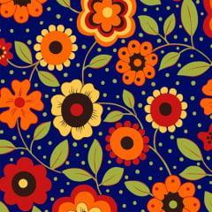Tecido Tricoline Floral Alegria Azul Marinho