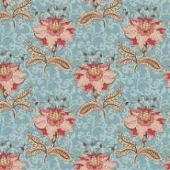 Tecido Tricoline Floral Arabesque Jacoben Azul