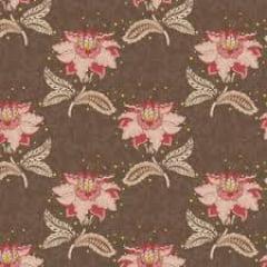 Tecido Tricoline Floral Arabesque Jacoben Marrom