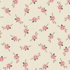 Tecido Tricoline Floral Botão Listrado Bege