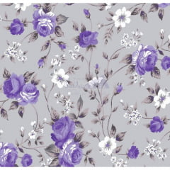 Tecido Tricoline Floral Branco Rosas Lilás com Cinza