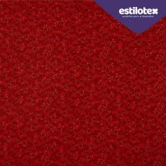 Tecido Tricoline  Floral  Chic Vermelho