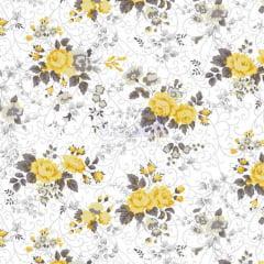 Tecido Tricoline Floral Fernanda Amarelo com Cinza
