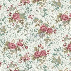 Tecido Tricoline Floral Fernanda Verde vintage  Com Rosas