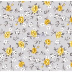 Tecido Tricoline Floral Lúcia Cinza com Amarelo