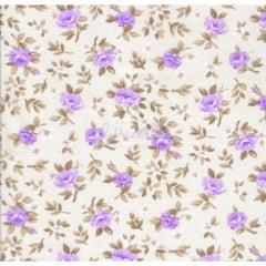 Tecido Tricoline Floral Lúcia Cru com Lilás