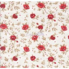 Tecido Tricoline Floral Lúcia Cru com Vermelho