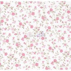 Tecido Tricoline Floral Marina Rosa