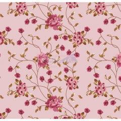 Tecido Tricoline Floral Ramos Rose