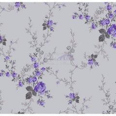 Tecido Tricoline Floral Sarah Lilás com Cinza