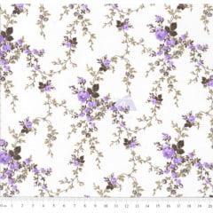 Tecido Tricoline Floral Sarah Lilás Com Marrom