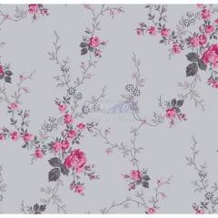Tecido Tricoline Floral Sarah Rosa com Cinza