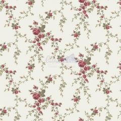 Tecido Tricoline Floral Sarah Verde Vintage