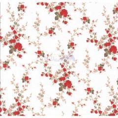 Tecido Tricoline Floral Sarah Vermelho
