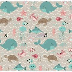 Tecido Tricoline Fundo do Mar Bege com Tiffany