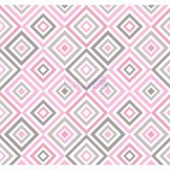 Tecido Tricoline Geométrico Rosa com Cinza