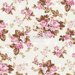 Tecido Tricoline Iris Rose