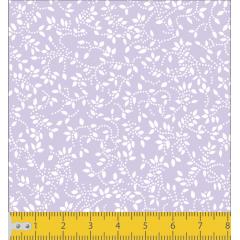 Tecido Tricoline Lilás Folhas Branca