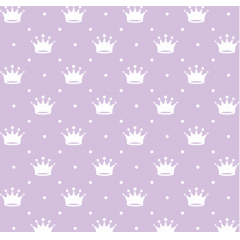 Tecido Tricoline Lilás e Coroas Branca