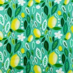 Tecido Tricoline Limão Siciliano flores