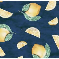 Tecido Tricoline Limão Siciliano Marinho
