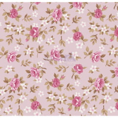Tecido Tricoline Lúcia Floral Rosa
