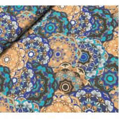 Tecido Tricoline Mandala Azul Marinho