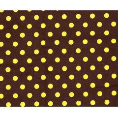 Tecido Tricoline Marrom Poá Grande Amarelo