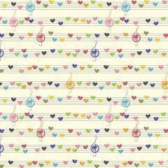 Tecido Tricoline Notas Musicais Coloridas