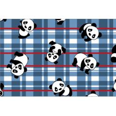 Tecido Tricoline Panda Xadrez Azul