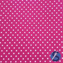 Tecido Tricoline Pink Mini Poa Branco
