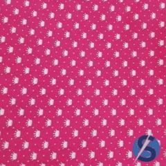 Tecido Tricoline Pink Poá e Coroas Branca