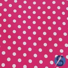 Tecido Tricoline Pink Poá Grande Branco