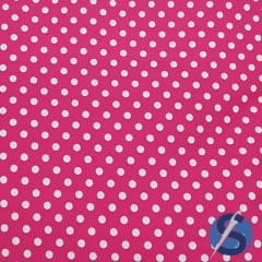 Tecido Tricoline Pink Poá Médio Branco