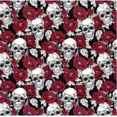 Tecido Tricoline Preto Caveira Branca Rosas Vermelhas