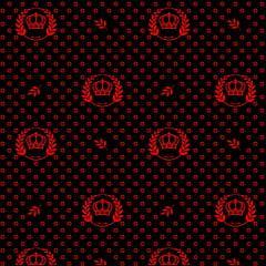 Tecido Tricoline Preto Coroas e Ramos Vermelho