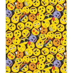 Tecido Tricoline Preto Emoji