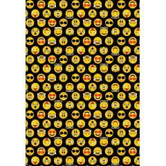 Tecido Tricoline  Preto  Emojis