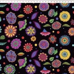 Tecido Tricoline Preto Floral Digital Marina Landi & Valeria Cervetto