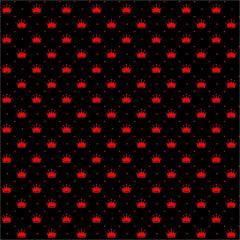 Tecido Tricoline Preto Poá e Coroas Vermelho