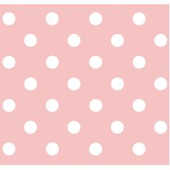 Tecido Tricoline Rosa Chá Poá Grande Branco